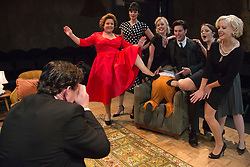 © Licensed to London News Pictures. 02/09/2015. London, UK. L-R: Kevin McGowan, Wendi Peters, Danielle Flett, Diana Vickers, Matthew Fraser Holland, James Wrighton, Vicky Binns and Wendy Morgan. World premiere of Hatched 'n' Dispatched, a black comedy set on one evening in 1959, opens at the Park Theatre in Finsbury Park. Written by Gemma Page & Michael Kirk, directed by Michael Kirk, the comedy stars Wendi Peters, Diana Vickers and Vicky Binns. Running from 1 to 26 September 2016. Photo credit : Bettina Strenske/LNP