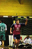 Handball, herrer Norge-Algerie 21-19, Kongsberghallen 4. januar 2001. Preben Vildalen jubler mens Algerie depper.