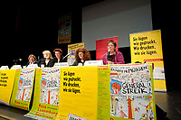 08 JAN 2011, BERLIN/GERMANY:<br /> Katrin Dornheim, Betriebsratsvorsitzende DB Station & Service AG, Claudia Spatz, Antifa Berlin, Ulla Jelpke, MdB, Die Linke, Bettina Juergensen, Vorsitzende DKP, Inge Viett, Radikale Linke, Autorin und ehemaliges Mitglied der RAF, (v.L.n.R.), Podiumsdiskussion, 16. Internationale Rosa-Luxenburg-Konferenz, Urania Haus<br /> IMAGE: 20110108-01-042<br /> KEYWORDS: Bettina Jürgensen