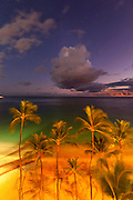 Sunset, Waikiki Beach, Honolulu, Oahu, Hawaii