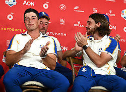 Team Europe's Viktor Hovland (left) and Tommy Fleetwood during a press conference after defeat to Team USA at the end of day three of the 43rd Ryder Cup at Whistling Straits, Wisconsin. Picture date: Sunday September 26, 2021.