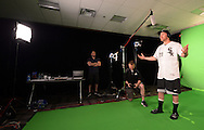 GLENDALE, ARIZONA - FEBRUARY 19:  Todd Frazier of the Chicago White Sox films video for the scoreboard department during spring training workouts on February 19, 2017 at Camelback Ranch in Glendale Arizona.  (Photo by Ron Vesely). Subject:  Todd Frazier