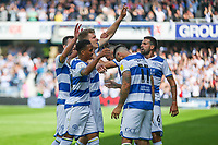 Football - 2021/2022  Sky Bet EFL Championship - Queens Park Rangers vs Millwall - Kiyan Prince Foundation Stadium - Saturday 7th August 2021.<br /> <br /> Rob Dickie (Queens Park Rangers) takes the applause of the fans after scoring his teams equaliser <br /> <br /> COLORSPORT/DANIEL BEARHAM