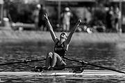 Plovdiv BULGARIA. 2017 FISA. Rowing World U23 Championships. <br /> Gold Medalist NED BLW1X. KEIJSER, Marieke. celebrates after crossing the finish line.<br /> <br /> 10:17:41  Sunday  23.07.17   <br /> <br /> [Mandatory Credit. Peter SPURRIER/Intersport Images].