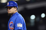 CLEVELAND, OH - OCTOBER 26: Kyle Schwarber #12 of the Chicago Cubs looks on in the fifth inning during Game 2 of the 2016 World Series against the Cleveland Indians at Progressive Field on Wednesday, October 26, 2016 in Cleveland, Ohio. (Photo by Ron Vesely/MLB Photos via Getty Images)