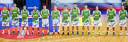 Team Slovenia (L-R): Goran Dragic of Slovenia, Uroš Slokar of Slovenia, Luka Lapornik of Slovenia, Nebojsa Joksimovic of Slovenia, Edo Muric of Slovenia, Jaka Blazic of Slovenia, Domen Lorbek of Slovenia, Gasper Vidmar of Slovenia, Gezim Morina of Slovenia, Klemen Prepelic of Slovenia, Jure Balazic of Slovenia and Zoran Dragic of Slovenia during friendly match between National teams of Slovenia and Ukraine for Eurobasket 2013 on July 26, 2013 in Dvorana Komunalnega centra, Domzale, Slovenia. Slovenia defeated Ukraine 74-46. (Photo by Vid Ponikvar / Sportida.com)