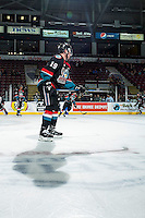 KELOWNA, CANADA - NOVEMBER 12: Dillon Dube #19 of the Kelowna Rockets tosses the puck on the ice during warm up against the Prince Albert Raiders on November 12, 2016 at Prospera Place in Kelowna, British Columbia, Canada.  (Photo by Marissa Baecker/Shoot the Breeze)  *** Local Caption *** Dillon Dube;