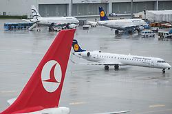 THEMENBILD, Airport Muenchen, Franz Josef Strauß (IATA: MUC, ICAO: EDDM), Der Flughafen Muenchen zählt zu den groessten Drehkreuzen Europas, rund 100 Fluggesellschaften verbinden ihn mit 230 Zielen in 70 Laendern, im Bild Seitenruder einer Turkish Airways Maschine mit Logo und ein Lufthansa CityLine Canadair CL-600-2D24 Regional Jet // THEME IMAGE, FEATURE - Airport Munich, Franz Josef Strauss (IATA: MUC, ICAO: EDDM), The airport Munich is one of the largest hubs in Europe, approximately 100 airlines connect it to 230 destinations in 70 countries. picture shows: Rudder of a Turkish Airlines with logo and a Lufthansa CityLine Canadair CL-600-2D24 Regional Jet, Munich, Germany on 2012/05/06. EXPA Pictures © 2012, PhotoCredit: EXPA/ Juergen Feichter