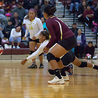 Right side hitter Valarie Morgan (15), saves the Cougars with a dig as her teammates watch, in Tohatchi on Tuesday.