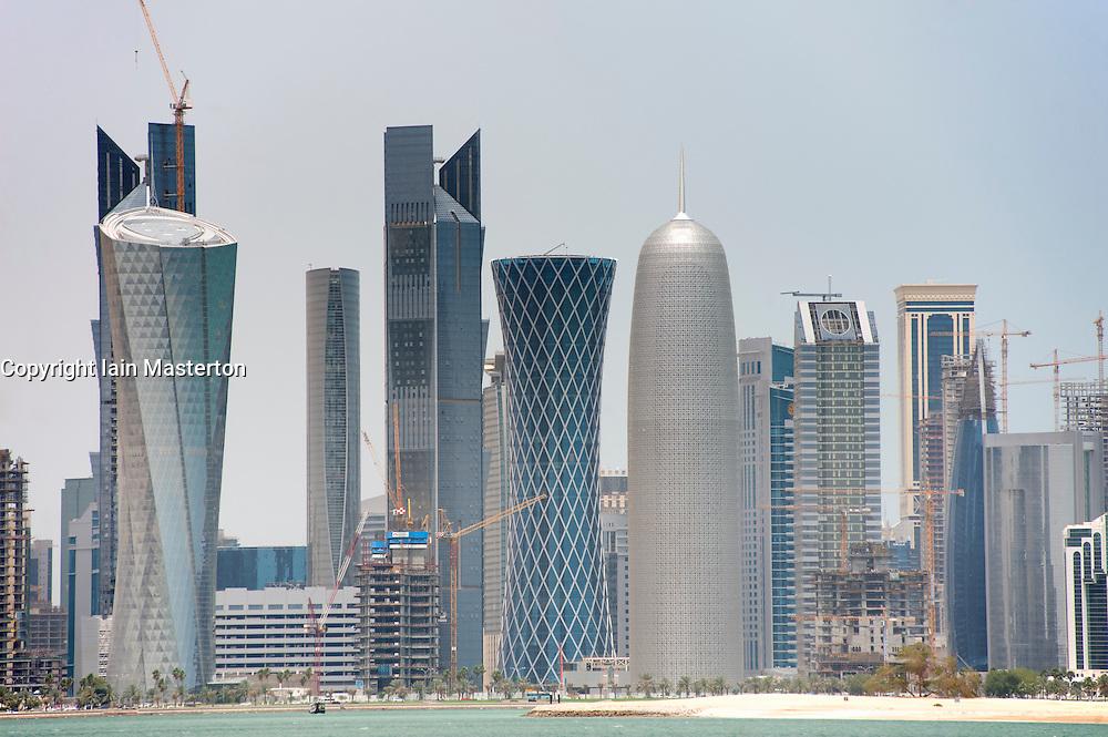 Skyline of city of Doha in Qatar