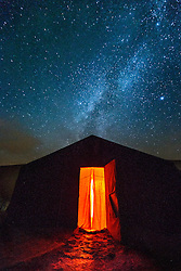 Stars above Berber tent at night, Erg Chebbi, Saharan Desert, Morocco
