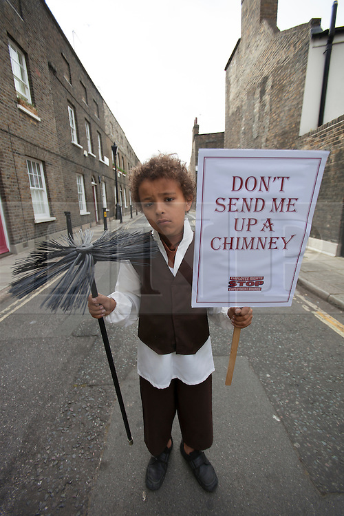 © licensed to London News Pictures. London, UK 31/05/2012. Jude Chinchen posing as a Victorian worker as TUC launches employment rights campaign today in London (31/05/12). Photo credit: Tolga Akmen/LNP