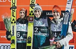 09.03.2020, Lysgards Schanze, Lillehammer, NOR, FIS Weltcup Skisprung, Raw Air, Lillehammer, Herren, Siegerehrung, im Bild 2. Platz Markus Eisenbichler (GER), Sieger Peter Prevc (SLO), 3. Platz Stephan Leyhe (GER) // 2nd placed Markus Eisenbichler of Germany Winner Peter Prevc (SLO) 3rd placed Stephan Leyhe of Germany during the winner ceremony for the men's 2nd Stage of the Raw Air Series of FIS Ski Jumping World Cup at the Lysgards Schanze in Lillehammer, Norway on 2020/03/09. EXPA Pictures © 2020, PhotoCredit: EXPA/ JFK