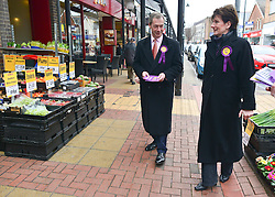 © Licensed to London News Pictures. 27/02/2013. Eastleigh, UK UKIP leader Nigel Farage (centre) and UKIP candidate Diane James (right) campaign in Eastleigh town centre today 27th February 2013. Voting in the Eastleigh by-election takes place tomorrow (28/02/13). Photo credit : Stephen Simpson/LNP