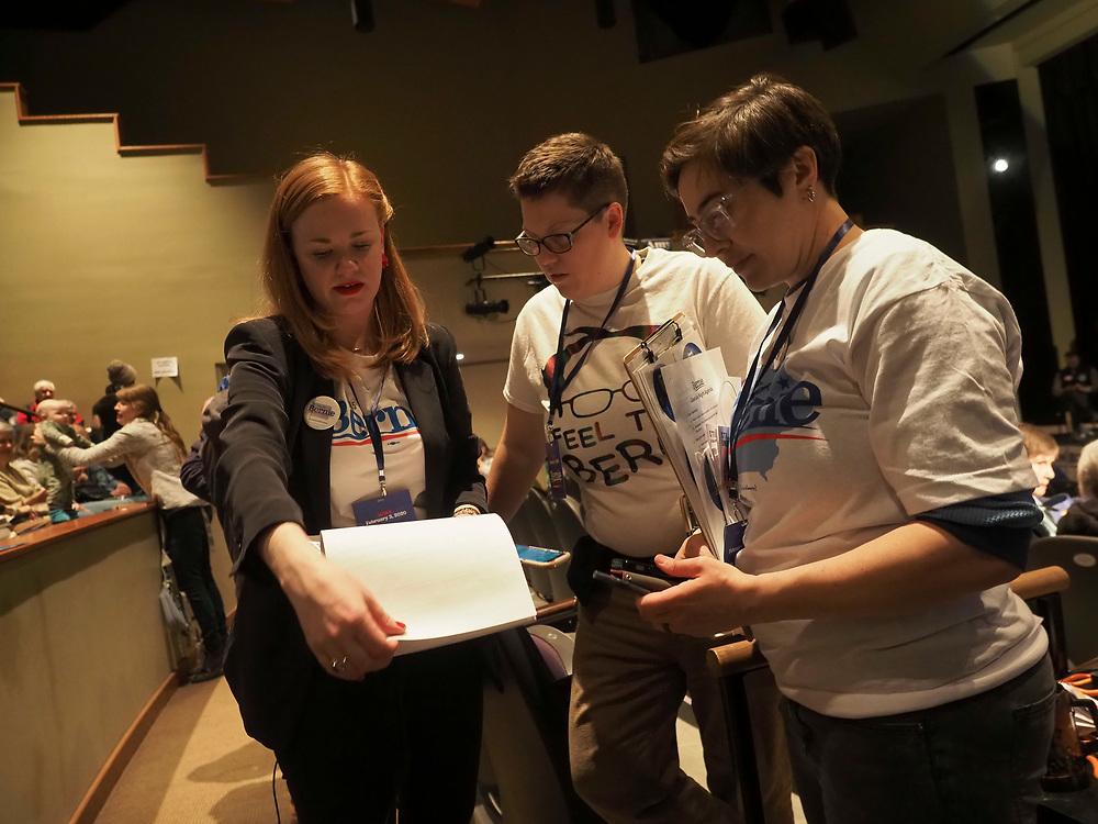 Fairfield Iowa residents Bernie Sanders supporters caucus on February 3