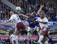 Photo Aidan Ellis.<br />Everton v West Ham United. (Barclaycard Premiership).<br />Sat 15/03/03.<br />Everton's Alan Stubbs just misses with this header