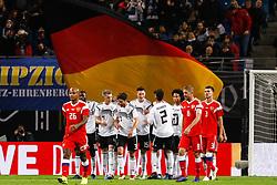 November 15, 2018 - Leipzig, Germany - Niklas Sule (N15) of Germany celebrates his goal during the international friendly match between Germany and Russia on November 15, 2018 at Red Bull Arena in Leipzig, Germany. (Credit Image: © Mike Kireev/NurPhoto via ZUMA Press)