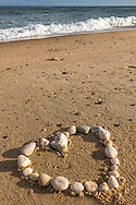 A heart-shaped ring of beach stones on Nauset Beach on Christmas afternoon