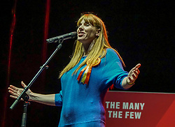 FILE:Picture : Labour MP and Shadow Secretary of State for Education, Angela Rayner speaks onstage to supporters during an election campaign event at the O2 Apollo Manchester. Angela Rayner is possible to be one of the candidate to stand for the  leadership of the Labour Party , as Jeremy Corbyn he steps down after his defeat in the general elections.<br /> <br /> Giannis Alexopoulos | 17.12/2019