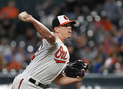 August 31, 2017 - Baltimore, MD, USA - Baltimore Orioles starter Jeremy Hellickson pitches against the Toronto Blue Jays in the second inning at Oriole Park at Camden Yards in Baltimore on Thursday, Aug. 31, 2017. The Blue Jays won, 11-8. (Credit Image: © Kenneth K. Lam/TNS via ZUMA Wire)