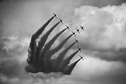 NOTE CONVERTED TO B&W The Red Arrows perform in South Shields, Tyne and Wear, at the finish of the Great North Run.