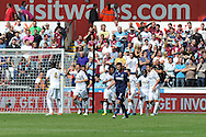 Swansea city's Angel Rangel (2nd left) celebrates with teammate Chico after he scores the 1st goal. Barclays Premier league, Swansea city  v West Ham Utd at the Liberty Stadium in Swansea, South Wales  on Saturday 25th August 2012. pic by Andrew Orchard, Andrew Orchard sports photography,
