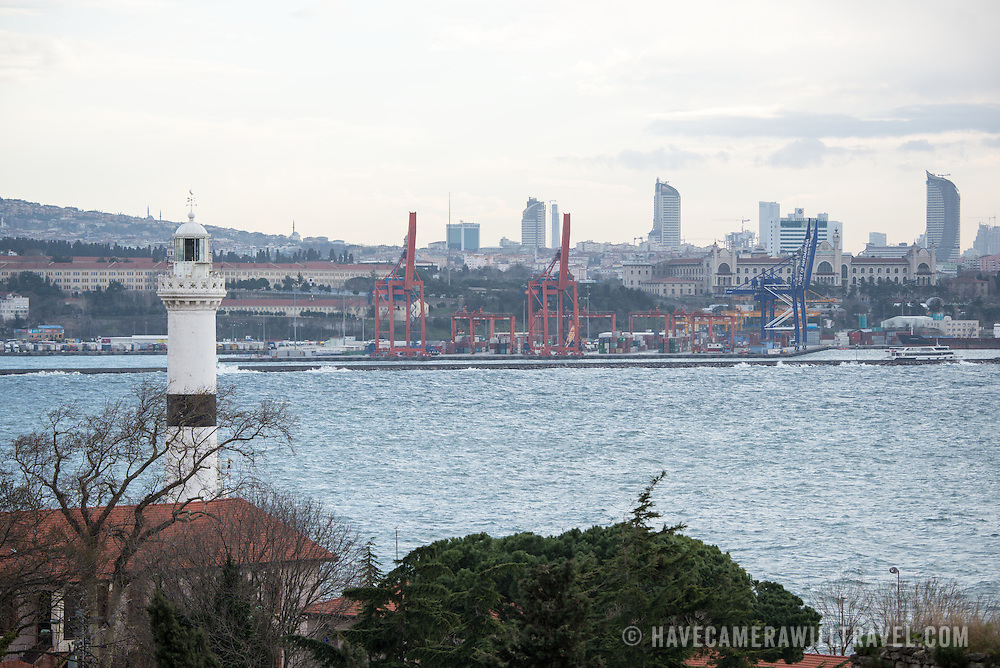 The Istanbul waterfront looking from the Sultanahment district across the Bosphorus  Strait and Sea of Marmara toward the shipping docks in the Uskudar district to the east.