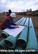 Heavy industry, blueprints, engineer