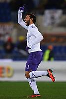 Mounir El Hamdaoui Fiorentina celebrates scoring 3-2 Fiorentina<br /> Goal celebration<br /> Roma 8/12/2012 Stadio Olimpico<br /> Football Calcio 2012/2013 Serie A<br /> Roma Vs Fiorentina<br /> Foto Andrea Staccioli Insidefoto