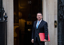 © Licensed to London News Pictures. 09/01/2018. London, UK. Secretary of State for International Trade Liam Fox arrives on Downing Street for the first meeting of the Cabinet after Prime Minister Theresa May's reshuffle. Photo credit: Rob Pinney/LNP
