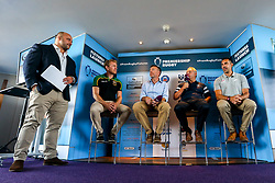 David Flatman hosts the launch of the 2018/19 Gallagher Premiership Rugby Season Fixtures with Northampton Saints Attack Coach Sam Vesty, CEO of Gallagher Michael Rea, Bristol Bears Chief Operating Officer Mark Tainton and Saracens Coach Alex Sanderson - Mandatory by-line: Robbie Stephenson/JMP - 06/07/2018 - RUGBY - BT Tower - London, England - Gallagher Premiership Rugby Fixture Launch