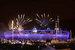 The firework display at the conclusion of the opening ceremony of the 2012 London Olympics being held in London between the 27th July and the 12th August 2012...Photo by Ron Gaunt/ SPORZPICS