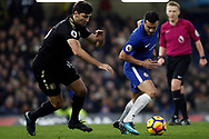 Aleksandar Dragovic of Leicester City (L) in action with Pedro of Chelsea (R). Premier League match, Chelsea v Leicester City at Stamford Bridge in London on Saturday 13th January 2018.<br /> pic by Steffan Bowen, Andrew Orchard sports photography.