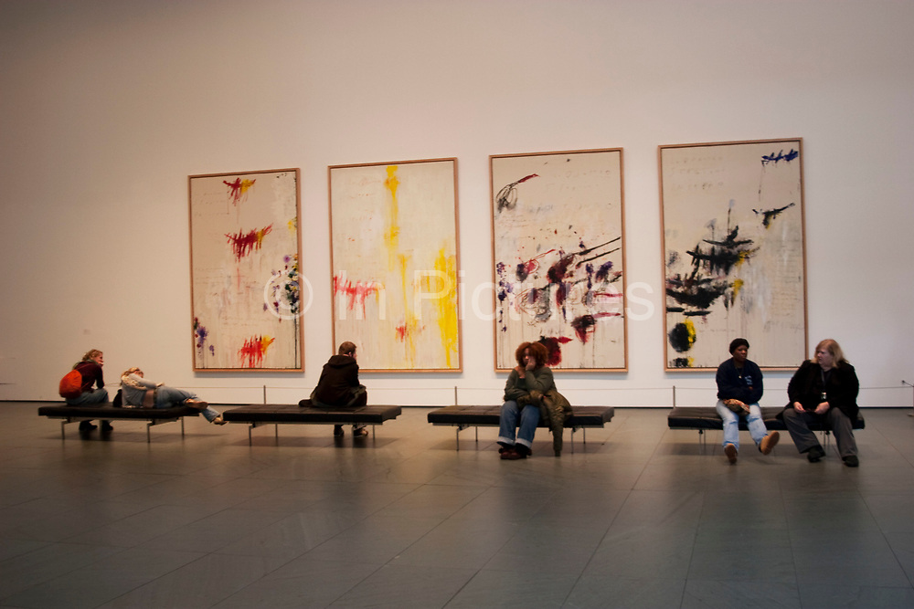 Cy Twombly paintings held at the Museum of Modern Art or MOMA in New York City, USA. Left to Right: Primavera, Estate, Autumno, Inverno. 1993-94.