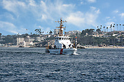 Coast Guard Cutter in the Entrance Channel to Newport Bay