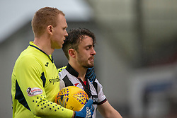 Dunfermline's keeper Lee Robinson at Aidan Connolly after he'd missed their penalty and Alloa win. Dunfermline 2 v 2 Alloa Athletic. Alloa win on penalties. Irn Bru cup game played 13/10/2018 at Dunfermline's home ground, East End Park.
