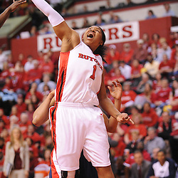 Mar 2, 2009; Piscataway, NJ, USA; Rutgers guard Khadijah Rushdan (1) puts up a layup during the first half of Rutgers game against nationally rated #1 Connecticut at the Louis Brown Athletic Center. Connecticut won 69-59 to finish their regular season a perfect 30-0.