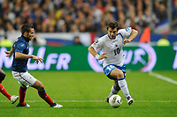 FOOTBALL - UEFA EURO 2012 - QUALIFYING - GROUP D - FRANCE v BOSNIA - 11/10/2011 - PHOTO GUY JEFFROY / DPPI - ZVJEZDAN MISIMOVIC (BOS) / YOHAN CABAYE (FRA)