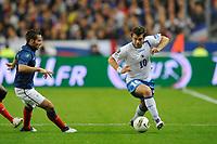 FOOTBALL - UEFA EURO 2012 - QUALIFYING - GROUP D - FRANCE v BOSNIA - 11/10/2011 - PHOTO GUY JEFFROY / DPPI - ZVJEZDAN MISIMOVIC (BOS) / YOHAN CABAYE (FRA)