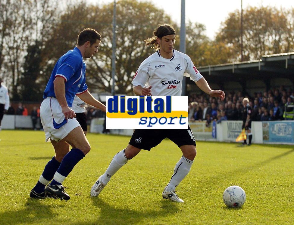 Photo: Olly Greenwood/Sportsbeat Images.<br />Billericay Town v Swansea City. The FA Cup. 10/11/2007. Swansea's Andrea Orlandi and Billericay's Darren Blewitt