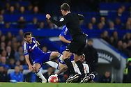 Pedro of Chelsea  is fouled by Danny Rose of Tottenham Hotspur as referee Mark Clattenburg looks on. Barclays Premier league match, Chelsea v Tottenham Hotspur at Stamford Bridge in London on Monday 2nd May 2016.<br /> pic by Andrew Orchard, Andrew Orchard sports photography.