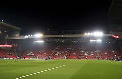 General view of the ground before the UEFA Champions League match at Anfield, Liverpool.