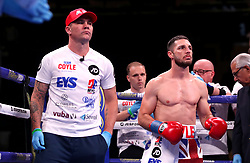 Trainer Jamie Moore (left) and Tommy Coyle prior to the start of the WBO International Super-Lightweight title fight at Madison Square Garden, New York.