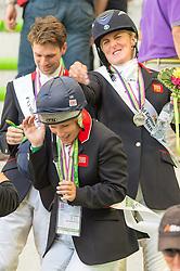 Team GBR won silver in the team test - Alltech FEI World Equestrian Games™ 2014 - Normandy, France.<br /> © Hippo Foto Team - Jon Stroud<br /> 31-08-14
