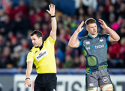 Referee Karl Dickson awards a penalty <br /> <br /> Photographer Simon King/Replay Images<br /> <br /> European Rugby Champions Cup Round 1 - Ospreys v Munster - Saturday 16th November 2019 - Liberty Stadium - Swansea<br /> <br /> World Copyright © Replay Images . All rights reserved. info@replayimages.co.uk - http://replayimages.co.uk