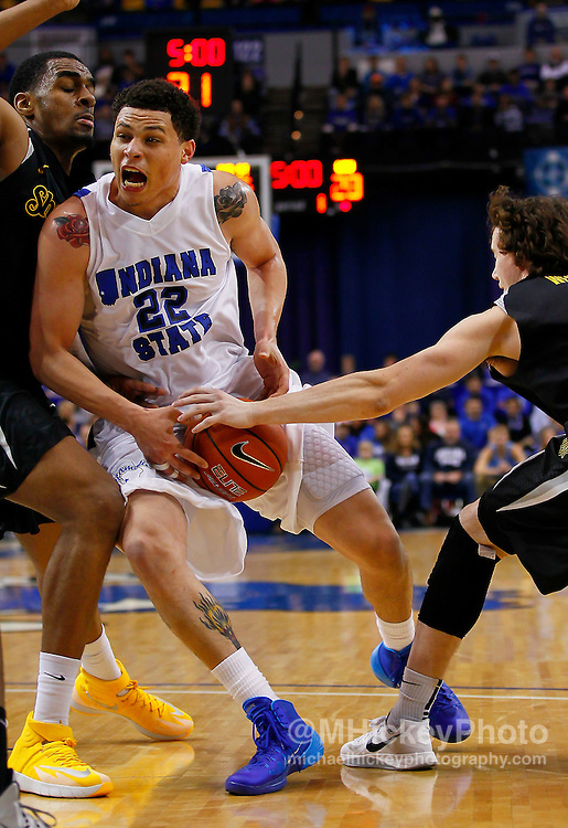 TERRE HAUTE, IN - FEBRUARY 05: Brandon Burnett #22 of the Indiana State Sycamores drives to the basket against the Wichita State Shockers at Hulman Center on February 5, 2014 in Terre Haute, Indiana. (Photo by Michael Hickey/Getty Images) *** Local Caption *** Brandon Burnett
