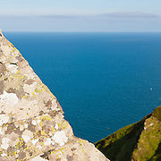 View down to the sea from high cliffs, Maughold, Isle of Man.