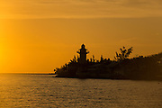 Small lighthouse at sunrise east end of Nassau, Bahamas
