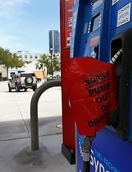 A view of gas pump with a out of order sign at Marathon gas station on Wednesday, September 6, 2017 in Sunny Isles Beach, FL, USA. Photo by David Santiago/Miami Herald/TNS/ABACAPRESS.COM