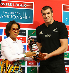 Man of the match Brodie Retallick of New Zealand during the Castle Lager Rugby Championship test match between South Africa and New Zealand held at Kings Park stadium in Durban on the 8th October 2016<br /> <br /> Photo by:  RealTime Images